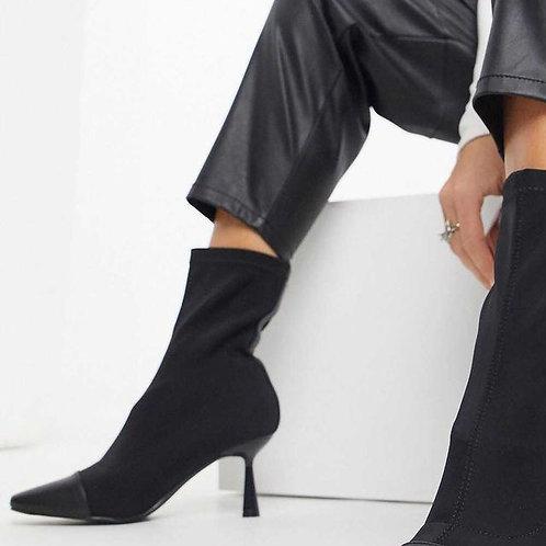 MZINGRIDZHOP   Exclusive Alba Vegan Boot with Kitten Heel in Black