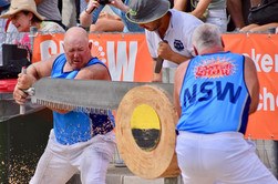N Marsh and J Beckett sawing in the final of the Double Handed-Sawing World Championship. Cutting Edge Photography