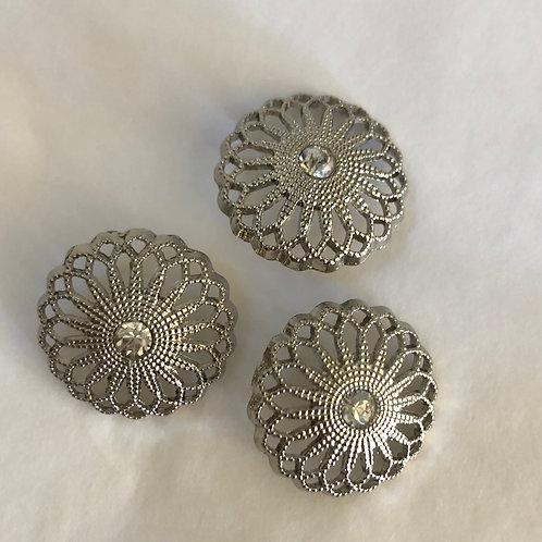 Knap med sten 15 mm - Sølv