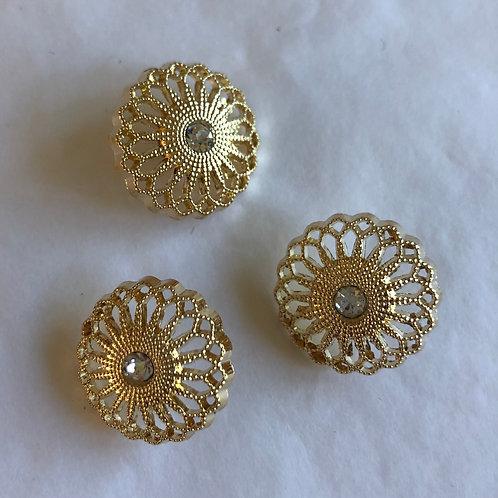 Knap med sten 20 mm -Guld