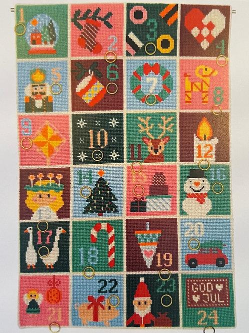 Julekalender Glade jul dejlige jul - broderi kit fra Fru Zippe