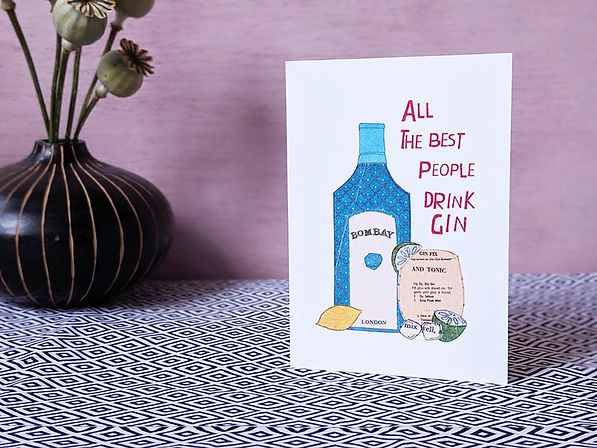 gin birthday card, bombay sapphire illustration