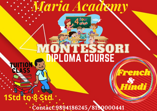 We are starting Montessori One year Diploma classes & Tuition from classes 1 to 8, Hindi & French