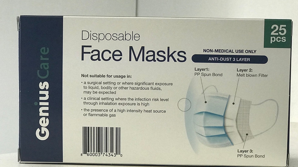 Disposable face masks 25cnt