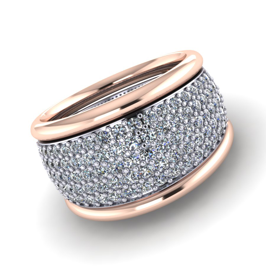 ET Bayfield brilliant cut 5 row pave diamond platinum white gold-rose gold side bands WG-RG 5