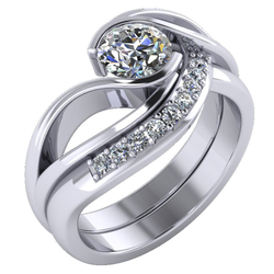 Curved Ring With Fitted Diamond Band