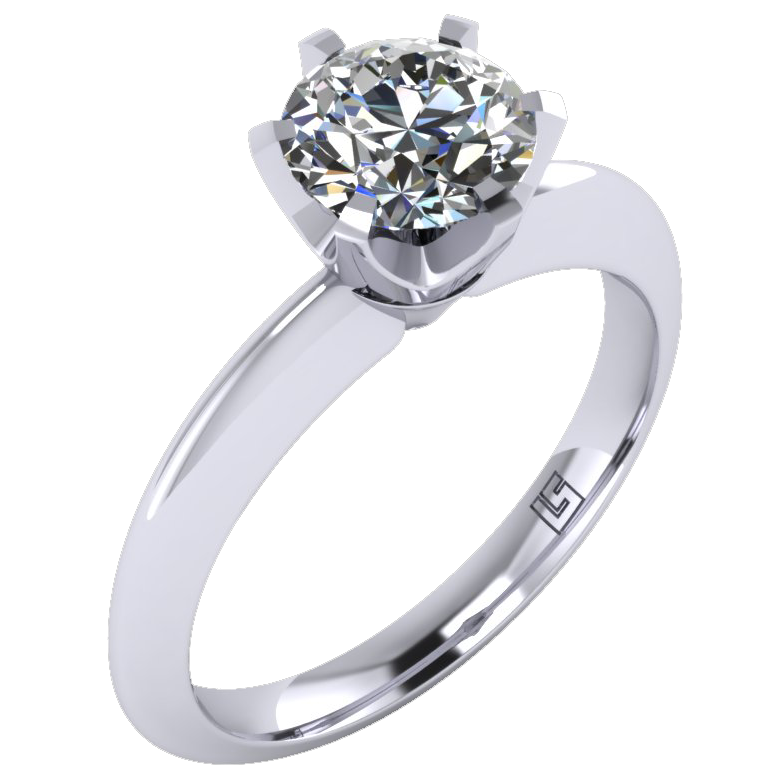 Six Claw Round Cut Diamond Solitaire