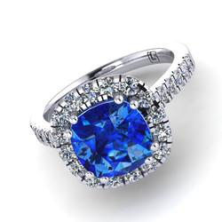 039 GR cushion micro claw cluster Ceylon sapphire & diamond platinum white gold Armstrong 039 WG 5