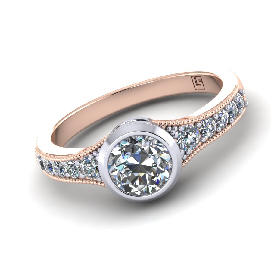 Bezel & Millgrain Round Diamond Ring