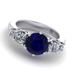 035 GR australian sapphire and diamond 5 stone claw set platinum white gold 035 WG 5