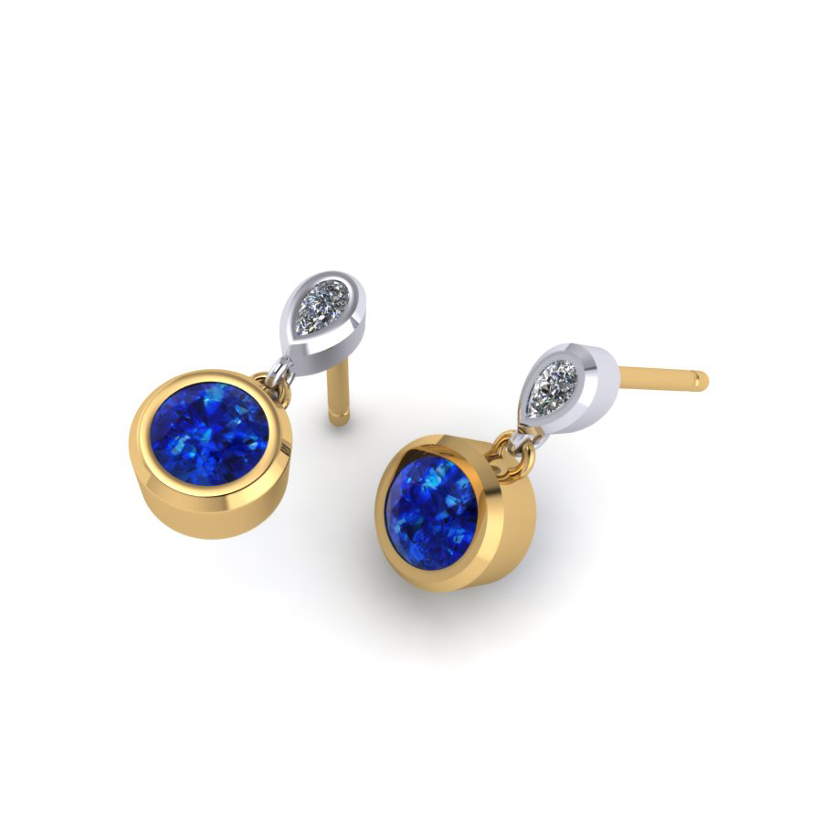Ceylon Sapphire & Pear Cut Diamonds
