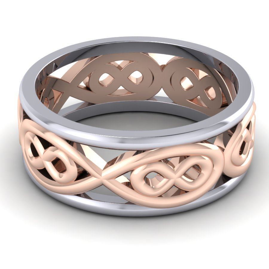 Rose & White Gold Gent's Infinity Ring