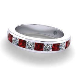 036 GR ruby & diamond nine stone channel set platinum white gold ring WG 036 5