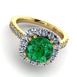 039 GR cushion micro claw cluster emerald & diamond yellow gold Armstrong 039 YG 5