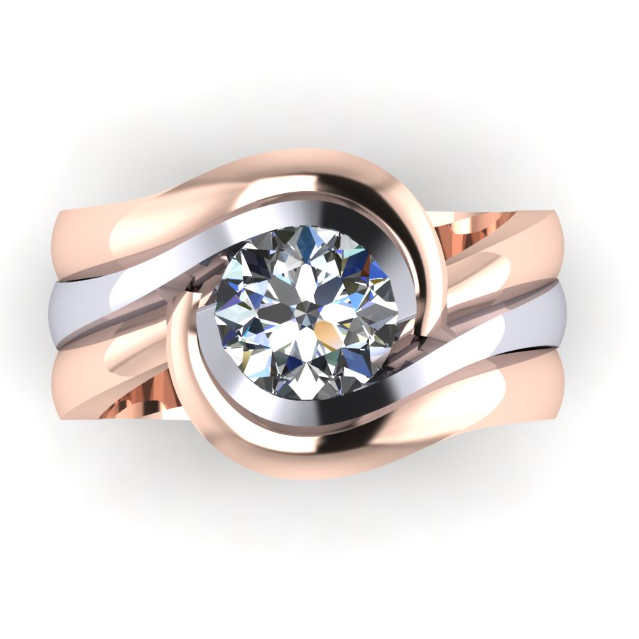 Round brilliant cut diamond solitaire in white gold with fitted split rose gold wedding rings