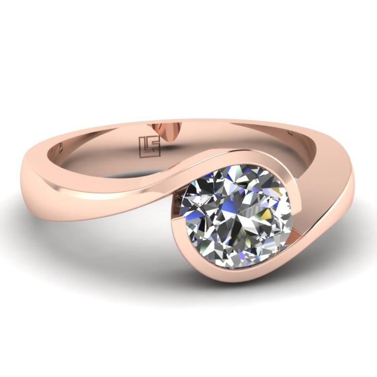 Semi Bezel Round Cut Diamond Ring