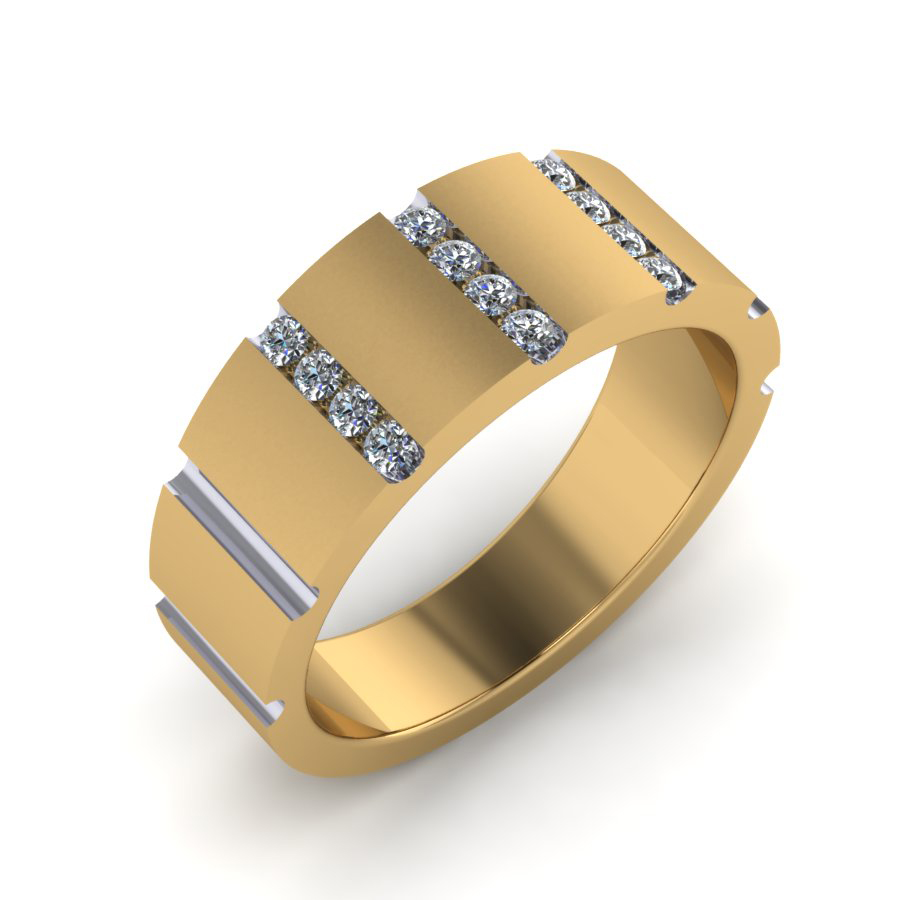 WRG channel set diamond gent's wedding ring yellow gold brushed finish Crittenden WRG YG 1