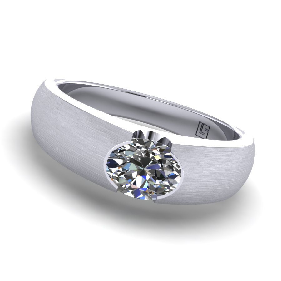 Semi Bezel Oval Cut Diamond Ring