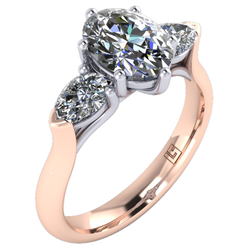 Oval & Pear Cut Diamond Three Stone