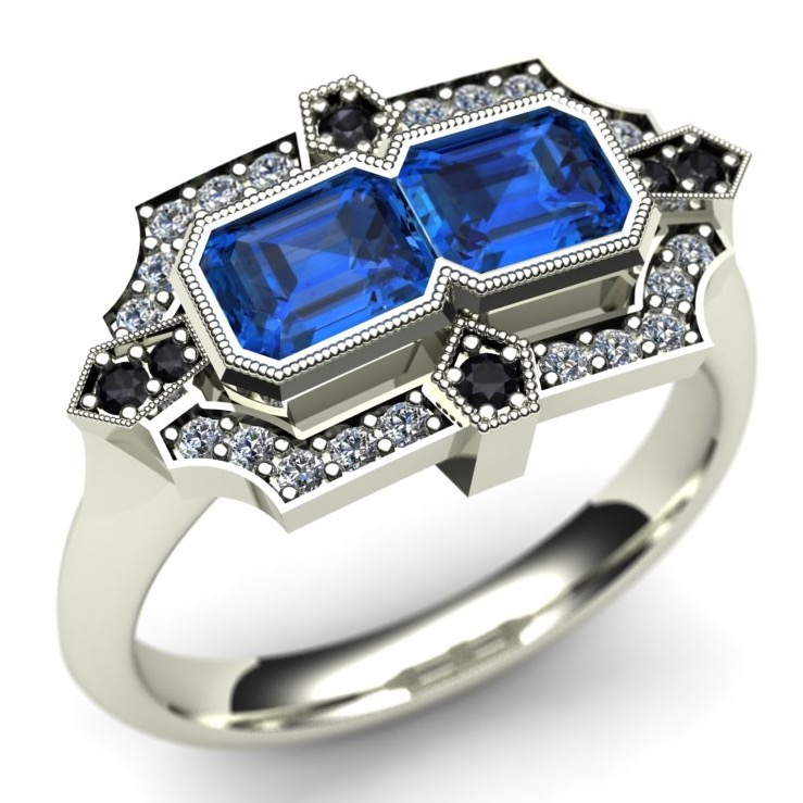 Sapphires Art Deco Engagement Ring