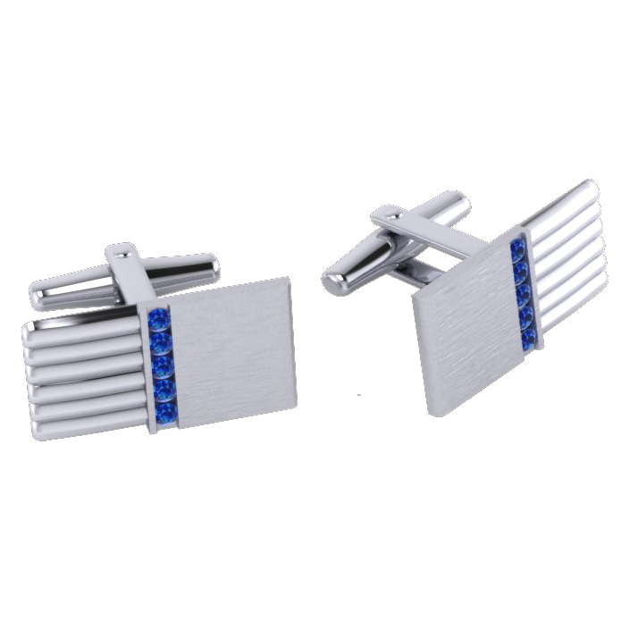 AC Cuff links channel set sapphire white gold Thompson  AC WG 1b