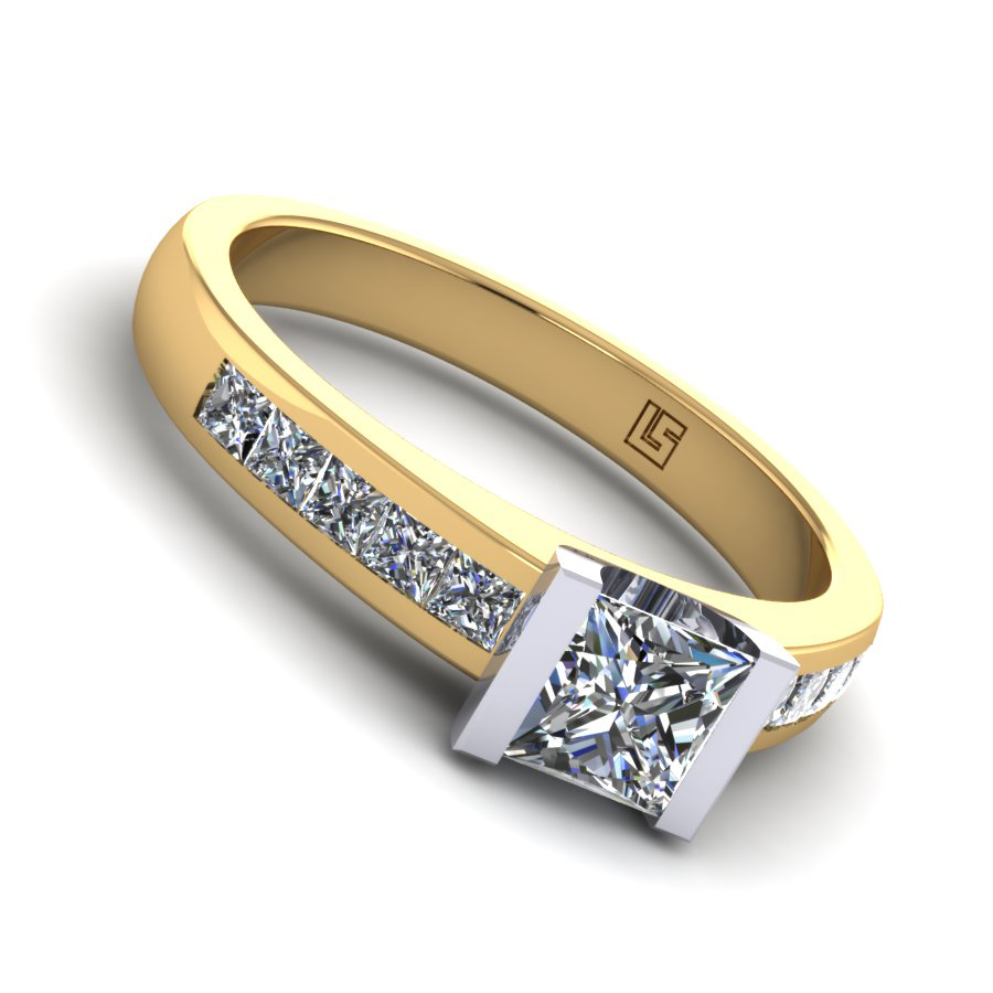 Princess cut engagement ring semi bezel channel set yellow gold 0120 YG 5