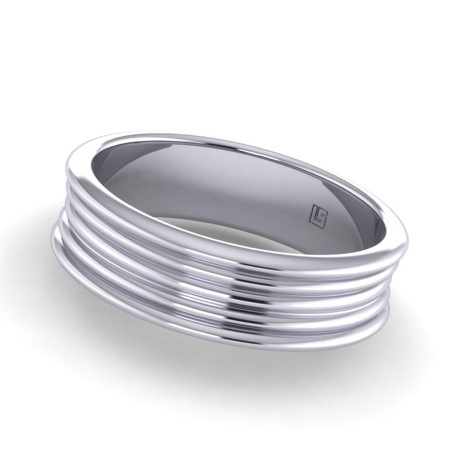 White Gold Five Wire Concave Band