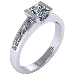 Princess cut engagement ring semi bezel channel set platinum white gold 0120 WG 1
