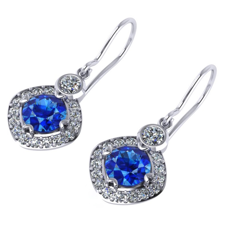 ER drop earrings articulated Ceylon sapphire & diamond platinum white gold Gonano ER 10-2_edited