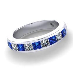 036 GR ceylon sapphire & diamond nine stone channel set platinum white gold ring WG 036 5