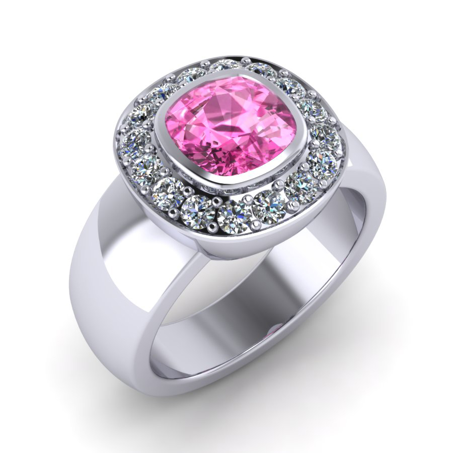 Pink Sapphire and Diamond Halo Band