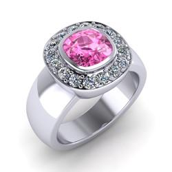 Pink Sapphire and Diamond Halo Band