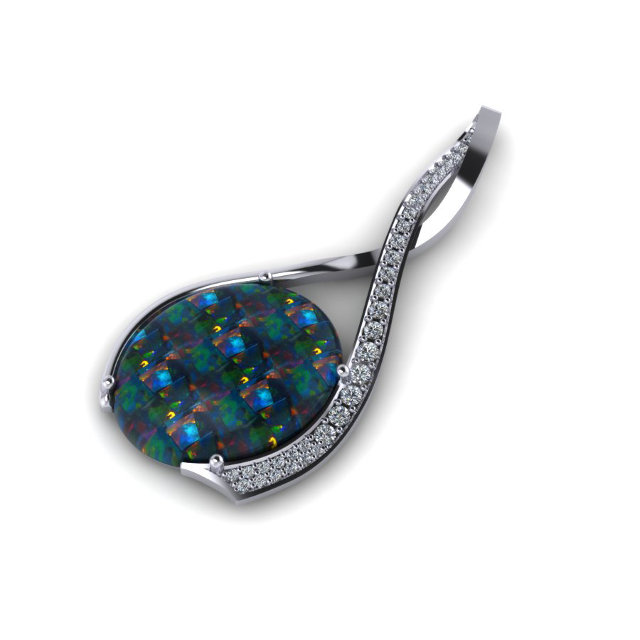 AC black opal and diamond brooch platinum white gold Madden 2 AC WG 1