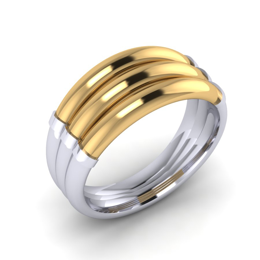 WRG Gent's yellow and white gold two tone dress ring Hodges WRG WYG 1