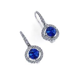 Sapphires with Diamond Halo & Hoops