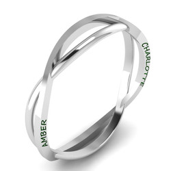 Silver Bangle With Embossed Names