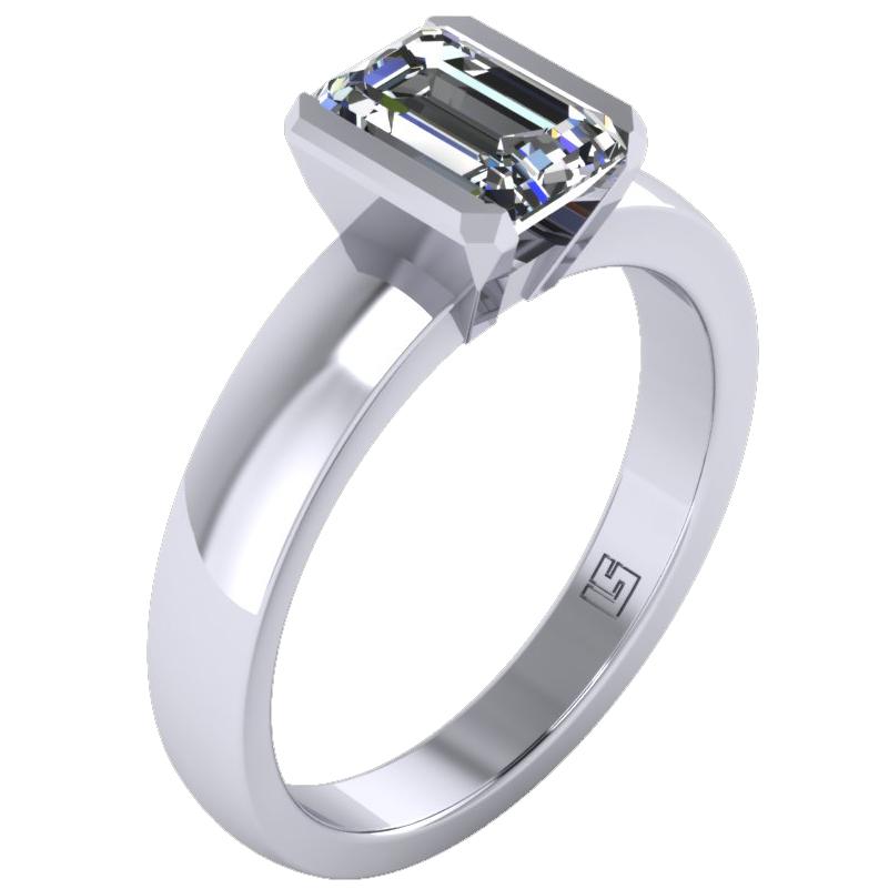 Semi Bezel Emerald Cut Diamond Ring