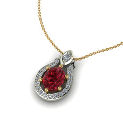 Red Spinel With Diamond Halo