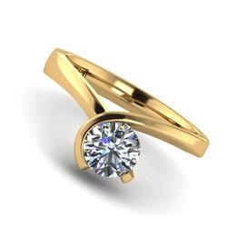 brilliant cut engagement ring semi bezel asymmetric yellow gold 0129 YG 5