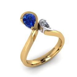 Engagement Ring, Sapphire & Diamond