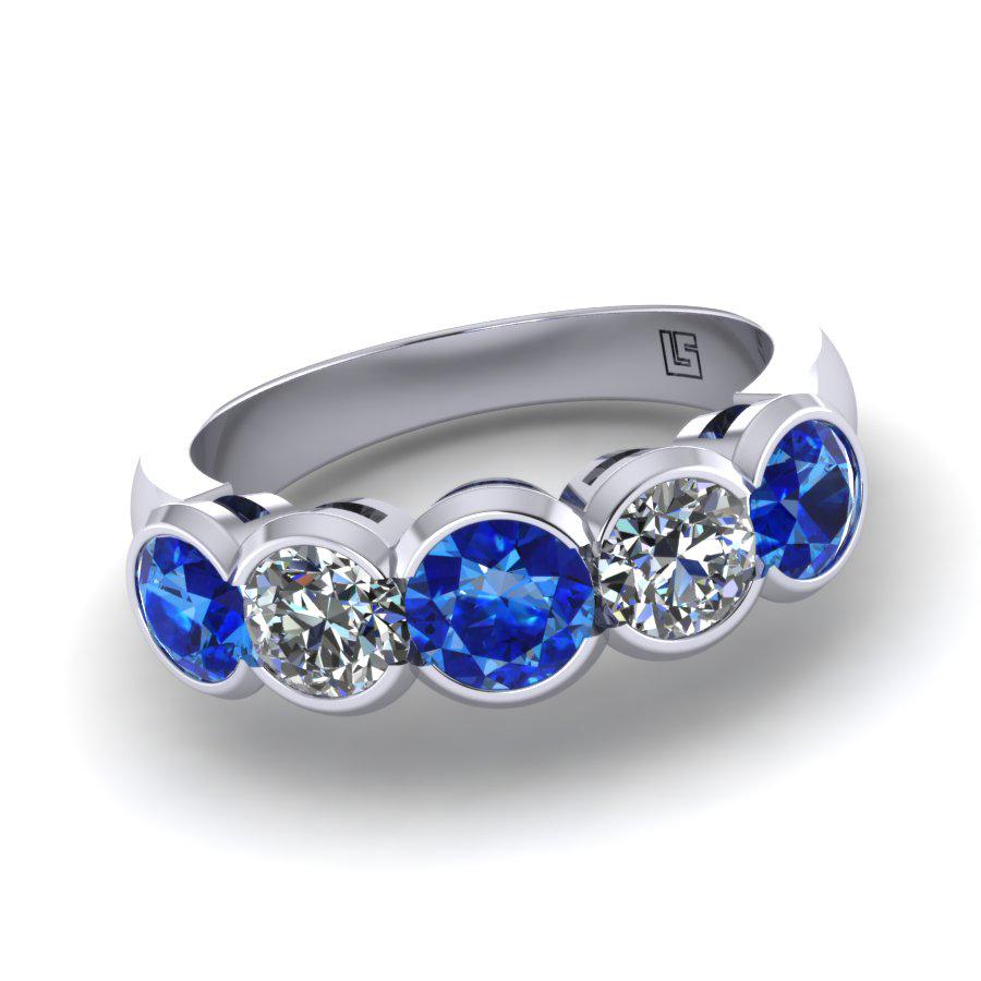 030 GR Ceylon sapphire & diamond 5 stone bezel set platinum white gold 030 WG 5