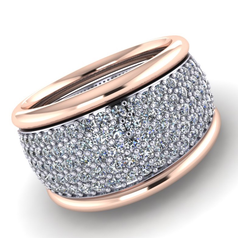 Rose & White Gold Pavé Diamond Band