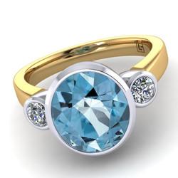 042 GR Oval Ceylon Aquamarine & Diamond 3 Stone Bezel Set Yellow Gold Grant 042 YG 5