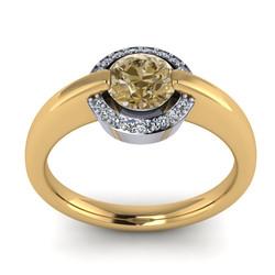 Cognac Diamond Engagement Ring