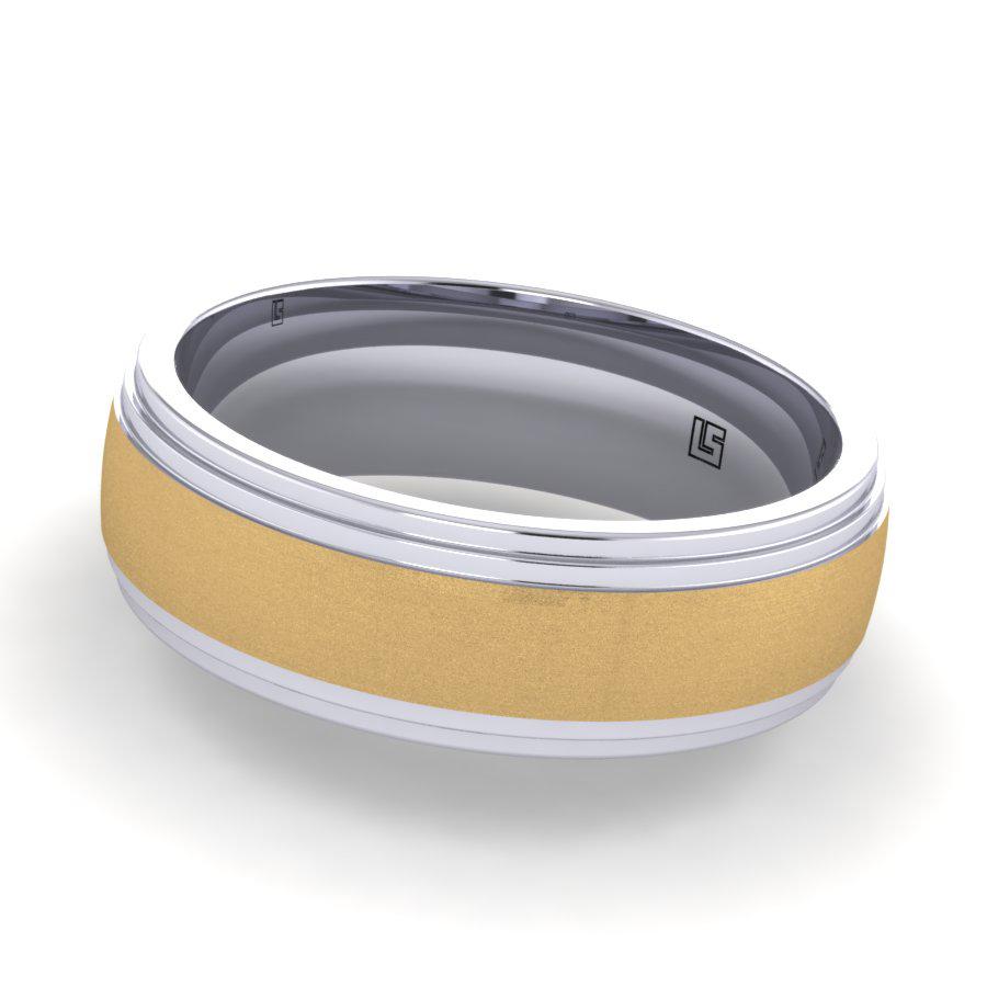 Brushed Yellow & Polished White Band