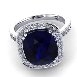040 GR oval Australian sapphire & diamond halo cluster bead set platinum white gold Finn 040 WG 5