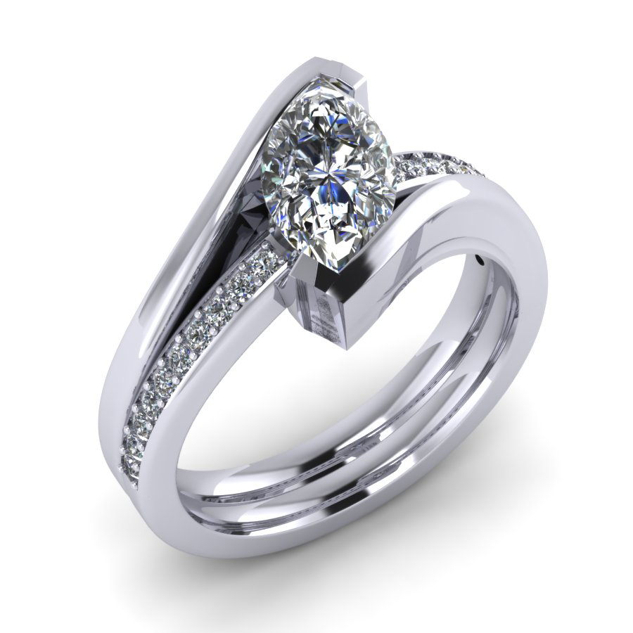DR-ET wedding-engagement ring marquise diamond platinum white gold Bollard ET WG 1