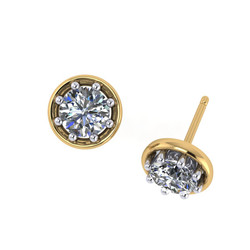 ER 0964 round brilliant cut diamond eight claw stud earrings with yello halo yellow & white gold ER