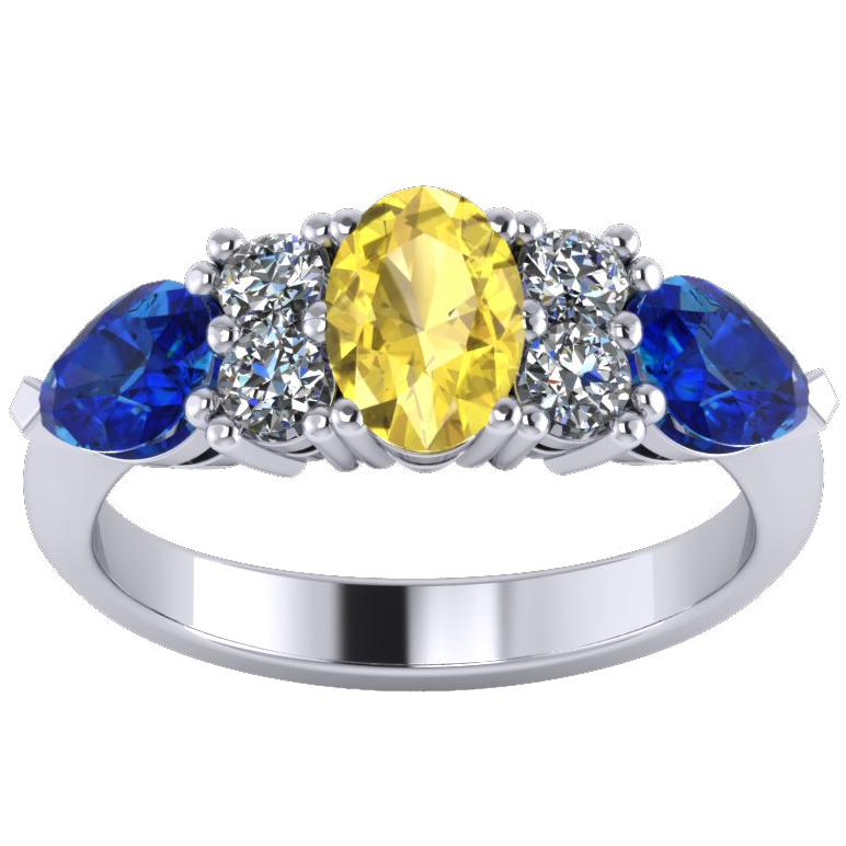 GR golden sapphire and fine blue sapphire & diamond dress ring platinum white gold Lankshear GR WG 2