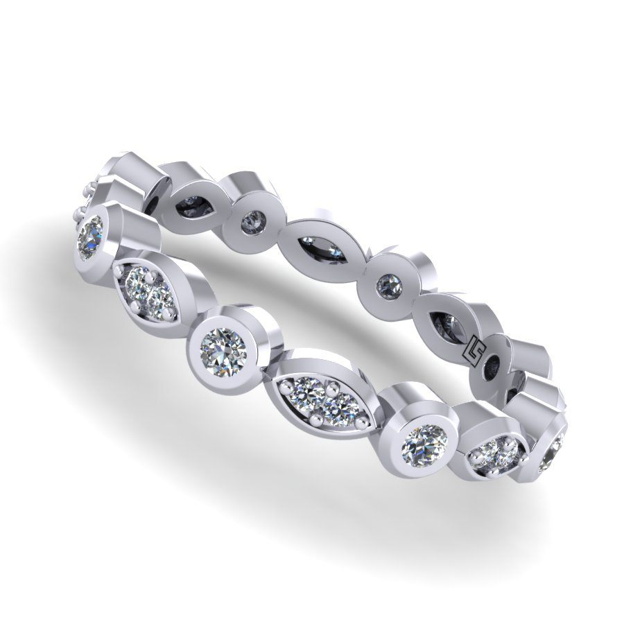 0781 brilliant cut diamond bezel & bead set wedding ring platinum white gold  0781 WG  5